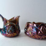 European Riihimaki Starburst Creamer and Sugar in Amethyst